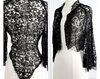 Black Silk Lace Bolero Jacket. SM, MED. // Pagoda, Butterfly Sleeve. Kimono Style. // Black Boho Gypsy Wedding. SteamPunk. Soft Grunge.