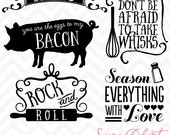 80% OFF Sale Svg Cuttables Kitchen Quotes Menu Pig Whisk Season Everything with Love Cut Files Set DXF SDD031