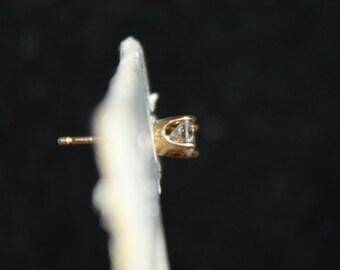 14K Gold & Diamond Post Stud Earring- ONE Earring, Yellow Gold