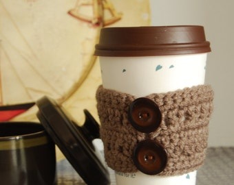 Brown Cozy Crocheted with Buttons, Taupe Coffee Cozy, Brown Button Crochet Cozies, Cozies Crocheted with Buttons, Coffee Cozies