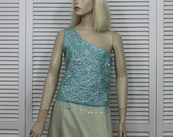 Vintage Beaded/Sequin Top / Off The Shoulder / Rare Lord & Taylor Fifth Avenue Size Small 50s, 60s