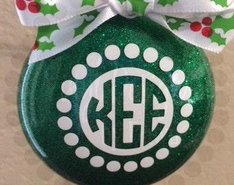 Monogram Christmas Ornament ~ Monogram Glitter Ornament ~ Circle Monogram Ornament ~ Personalized Christmas Ornament ~ Christmas Gift