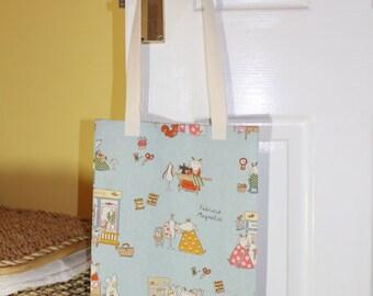 Shopping bag, tote bag, market tote, shopping tote, library bag - Goats and sheep, fabric shop print