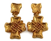 Vintage CHRISTIAN LACROIX Hammered Woven Cross Earrings