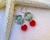 Love My Valentine Earrings ~ Dangling Hearts and Icy Aqua Surrounded by Vintage Styled Circle ~ OOAK