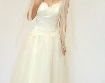 Vintage Wedding Dress, Cream Beaded Wedding Dress, Cupcake Wedding Dress, Midi Length Wedding Dress