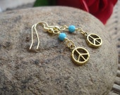 Boho Peace Sign Earrings with Turquoise Swarovski Crystals, Peace Earrings, Hippie Jewelry, Everyday Earrings, Gifts for Her