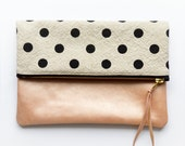 Fold Over Clutch, Pink Blush Leather Clutch, Polka Dot Envelope Bag, iPad Cover, Handmade Gifts For Women