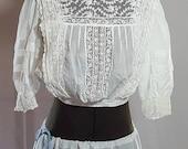 Antique Blouse Victorian Edwardian White Lace Cotton