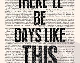 Days Like This Book Page - Van Morrison Lyrics Typography Print