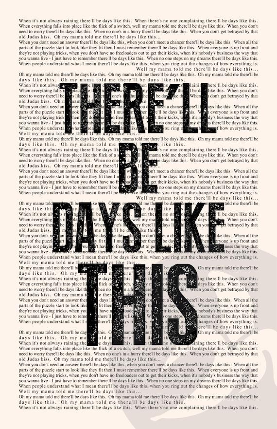 Lyric like this lyrics : Days Like This Book Page Van Morrison Lyrics Typography