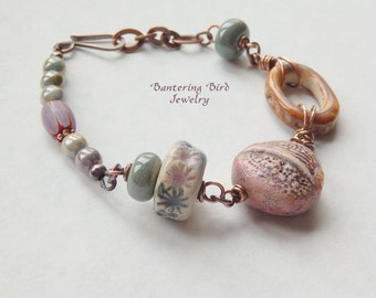 Ceramic Bead Bracelet, Unusual Copper Jewelry, Sage Green, Pink, Brown Beaded Bracelet, Staci Louise Polymer, Wire Wrapped Bracelet