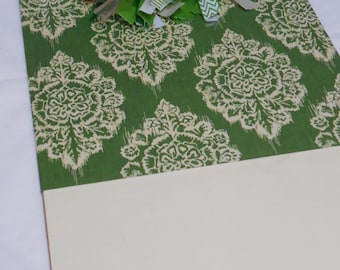 Green and White Damask Clipboard