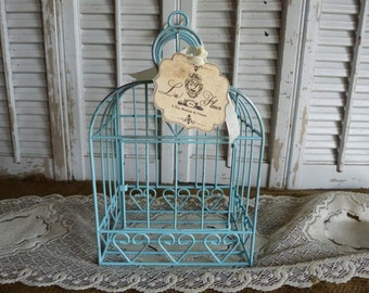 Upcycled Aqua Blue Shabby and Chic Bird Cage Cottage Decor  Wedding Decor Distressed Blue Cottage Style