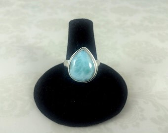 Larimar and Sterling Silver Cocktail Statement Ring - One of a Kind - Dolphin Stone