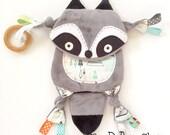 Mini Raccoon Woodland Baby Lovey Animal Blanket Pacifier Clip Toy Buddy