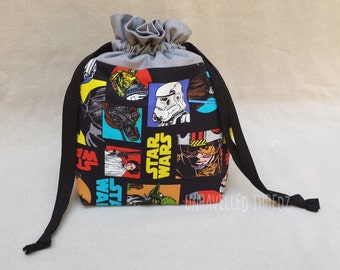 Sock Knitting Bag, Small Drawstring Project Bag, Knitting Project Bag