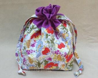 Project Bag for Knitting, Small Drawstring Bag, Sock Knitting Project Bag