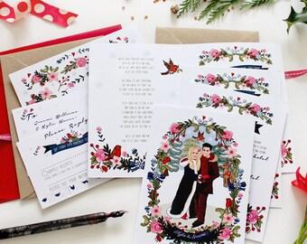 Wedding Stationery - Custom Illustration -Digital Clip Art - Wedding Invites - Wedding Portraits