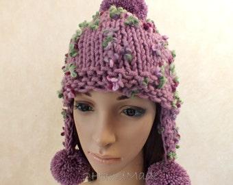 Super Chunky Hand Knit Hat Purple Merino Wool Beanie Rain Ribbed Russian Ushanka Skull Cap Striped Flowers Colorful Women Teens Pom Pom