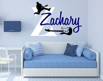 Guitar Wall Decal, Guitar Player Decal, Personalized Guitar Decal, Guitar Wall Decor, Guitar Wall Art, Musician Wall Decal - WD0201