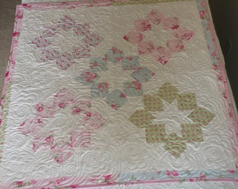 Baby Girl Quilt, Baby Girl Blanket, Cottage Chic, Pink Quilt, Lap Quilt