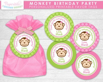 Monkey Girl Theme Birthday Party Favor Tags | Pink & Green | Personalized | Printable DIY Digital File