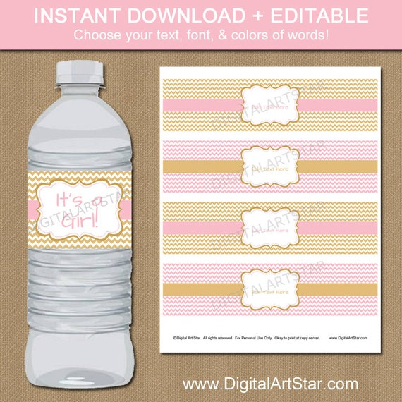 Pink And Gold Baby Shower Water Bottle Labels By