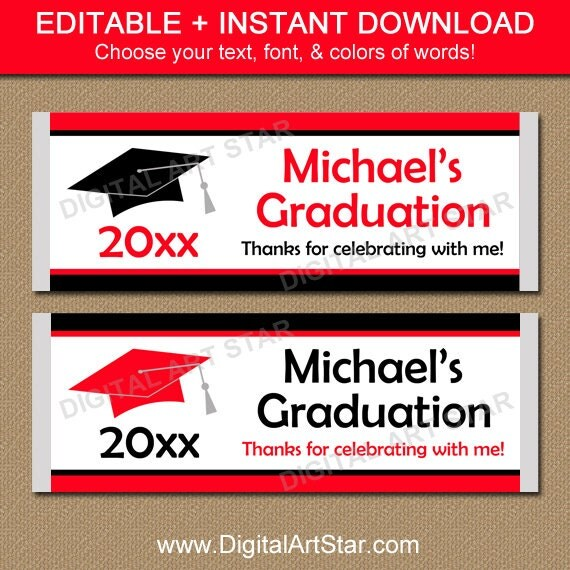 free printable graduation candy bar wrappers templates - graduation candy bar wrappers editable graduation party
