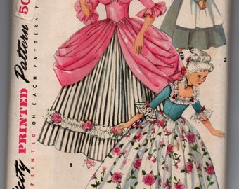 """1950's Simplicity Girls' Colonial and Puritan Costume Pattern - Bust 32"""" - UNCUT - No. 4862"""