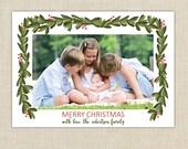 christmas photo cards, Holiday card, boxwood garland