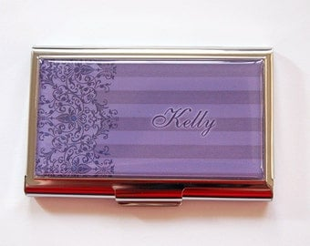 Personalized Business Card Holder, business card case, Personalized, card case, Custom Case, Lace, Damask, metal card case (5300)