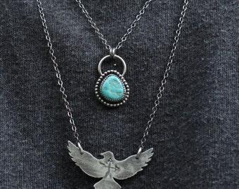 Cripple Creek Turquoise Pendant, Boho Necklace, Layering Necklace, Southwestern Jewelry
