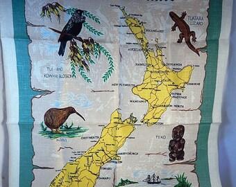Vintage New Zealand Map Linen Tea Towel Kitchen Towel Decor Wall Hanging