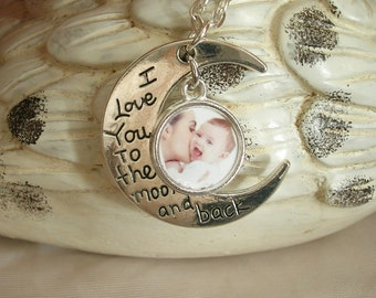 Valentine's Photo gift, I Love You to the Moon & Back Photo Charm Necklace, 1 or 2 photos, Bridal Gift, Mom Gift, Grandmom Gift, New Mom