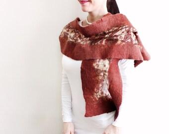 Pure silk and thin felt scarf, Brown Felt Romantic Scarf Shawl Pure Silk Nunofelt Cowl, Gift for her, Handmade Accessories Scarves
