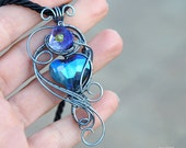 Heart wire wrapped pendant/Gift ideas/Gift for her/Heart pendant/Valentines day gift/Gift for girlfriend/OOAK/Blue heart pendant/Jewelry