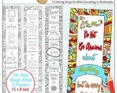 Printable Coloring Bible Journaling Margin Strips Zentangle for Wide Bible Margins or Planner Sticker Decoration, or Bookmarks