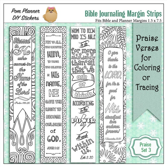 Adult coloring bible margin srrips for wide margin Bibles, bookmarks, and Sunday school projects