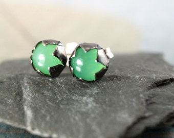 Green Silver Posts with Chrysoprase Stones and jagged bezel - Pretty Translucent stones