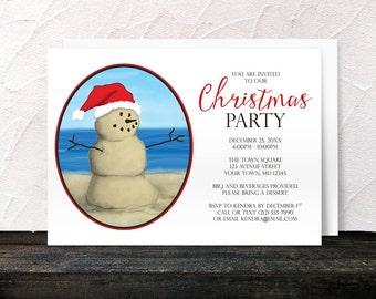 Beach Christmas Party Invitations - Modern Illustrated Sand Snowman - Summer Beach Christmas Invitations - Printed Invitations