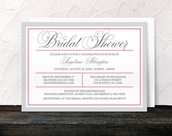 Pink Bridal Shower Invitations - Modern Pink and Gray - Printed Invitations