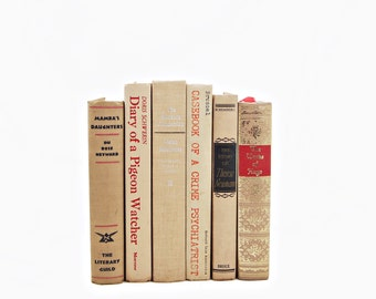 Sunset Beige Antique BOoks, Decorative Books, Cream Book Decor, Apricot Book Collection, Wedding Table Setting Centerpiece, Interior Design