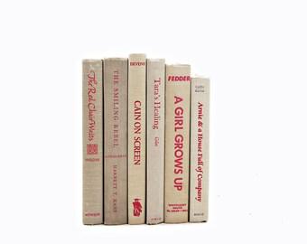 Wheat Beige Decorative Books, White Book set, Old Books, Red Book Collection, Vintage Tan Books, Antique Books, Brown Book Decor, Home Decor