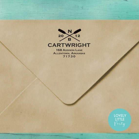 Modern custom self inking address stamp style 789 - Lovely Little Party