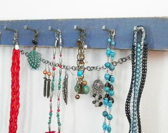 "Jewelry Organizer, Necklace Earring Holder with Pegs & Chain, Select Your Color. 16x2"".  Great Gift Idea."