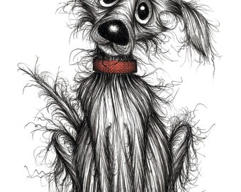 Mr Fluffy Print A4 size picture Extremely smelly scruffy pet mutt dog hound doggie pooch pup in red collar Drawing sketch printed on paper