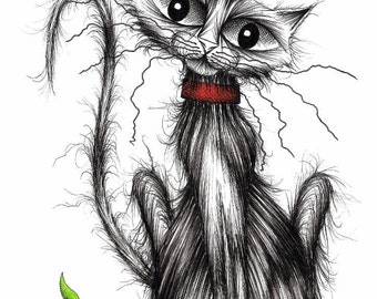 Greedy the cat Print A4 size art picture image Very cute little kitten puss kitty cat with adorable face Drawing sketch printed on paper