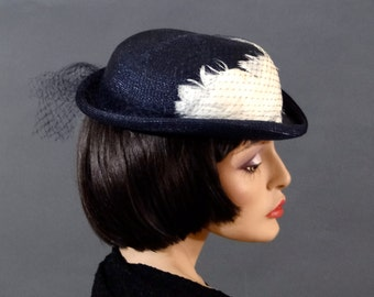 Women's Straw Derby Bowler Dark Navy Straw with Feathers - 1940's Victorian Style Riding Hat Vintage Accessories