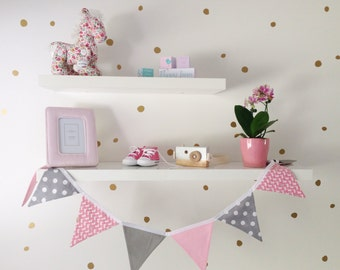 pink and grey, bunny rabbit, spots, girl, fabric flag bunting banner